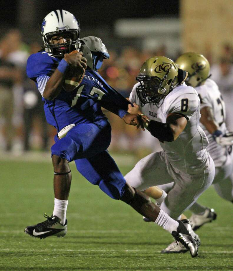 Klein Collins 31, Dekaney 21Dekaney quarterback D'Juan Hines (12) is sacked by Klein Collins linebacker Caasey Massey during the first half of a high school football game, Friday, October 19, 2012 at George Stadium in Spring, TX. Photo: Eric Christian Smith, For The Chronicle
