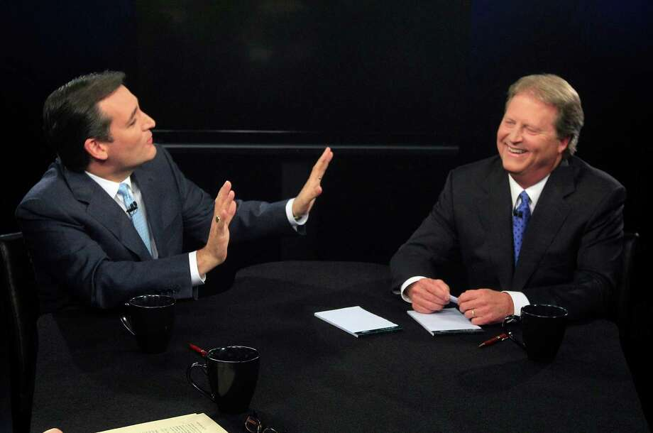 Republican candidate for U.S. Senate Ted Cruz, left, and Democratic candidate Paul Sadler share a laugh after their debate at  KERA television studious in Dallas, Friday, Oct. 19, 2012. The two Texas candidates are facing off for the open U.S. Senate seat. (AP Photo/LM Otero, Pool) Photo: LM Otero, Associated Press / Pool AP