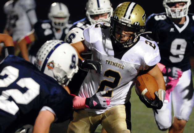 Trumbull's #2 Ryan Pearson, during football action against Staples in Westport, Conn. on Friday October 19, 2012. Photo: Christian Abraham / Connecticut Post