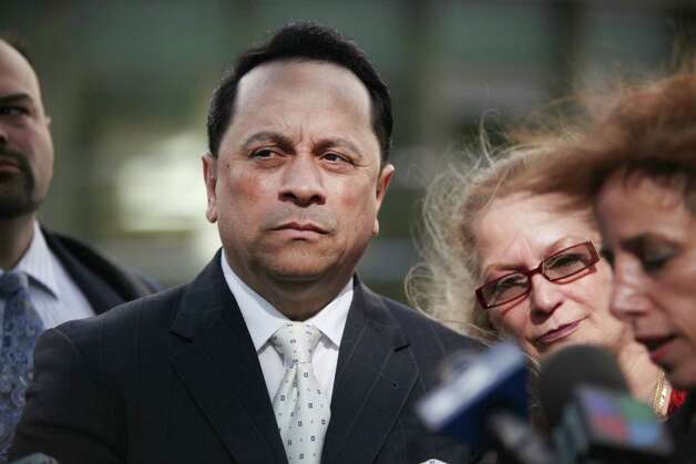 FILE  -- Former New York State Sen. Pedro Espada Jr., who was convicted of stealing from Soundciew Healthcare, a nonprofit, speaks to reporters outside the Federal Court in New York, May 11, 2012. A deal in which Espada received money from the liquidation of the nonprofit suggests he violated his bail terms and should lose his freedom, prosecutors contend. (Kirsten Luce/The New York Times) Photo: KIRSTEN LUCE / NYTNS