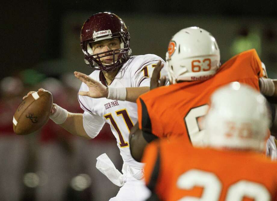 Deer Park quarterback Connor Means (11) throws a pass in the second quarter during a high school football game against La Porte at Bulldog Stadium on Friday, Oct. 19, 2012, in La Porte. Photo: J. Patric Schneider, For The Chronicle / © 2012 Houston Chronicle