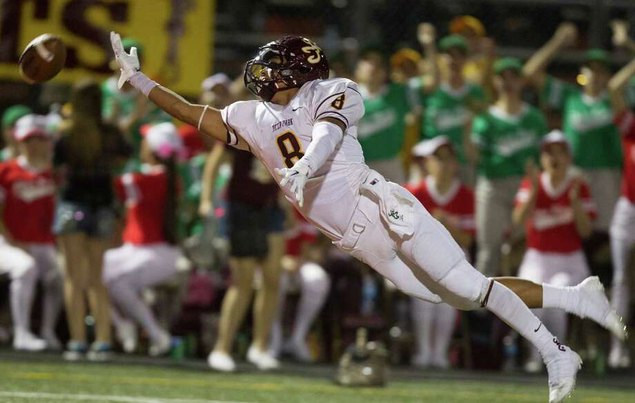 Deer Park's Eric Luna (8) falls short of a reception during the fourth quarter of a high school football game against La Porte at Bulldog Stadium on Friday, Oct. 19, 2012, in La Porte. Photo: J. Patric Schneider, For The Chronicle / © 2012 Houston Chronicle