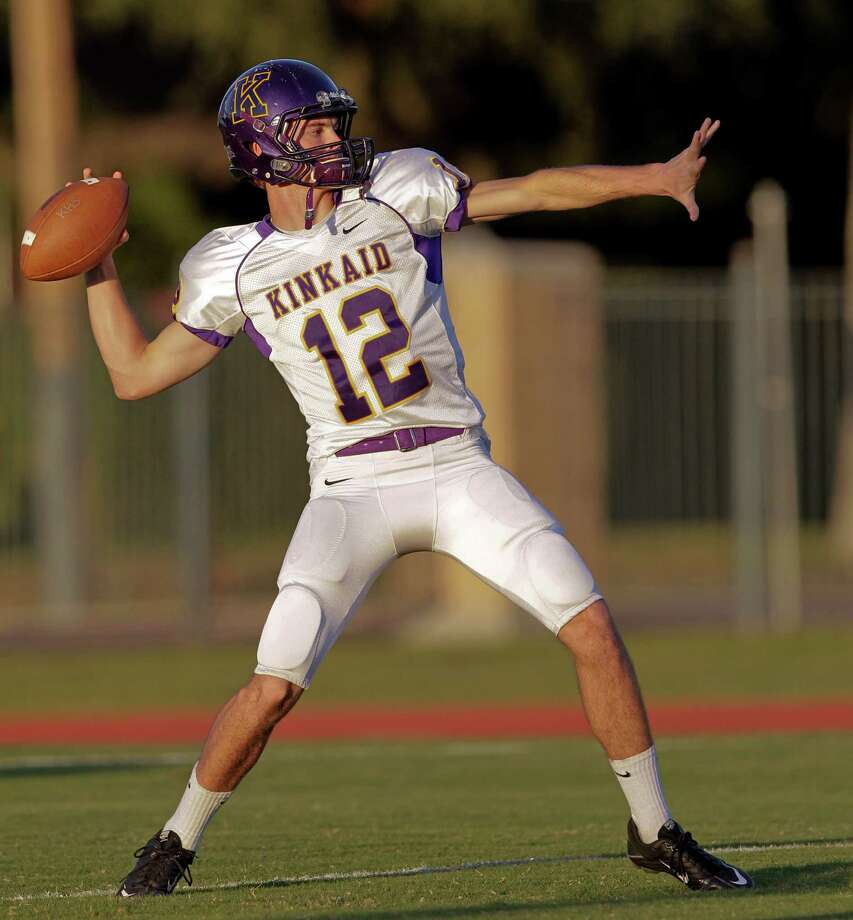 Kinkaid quarterback Jimmy Greenwood #12 gets some practice throws in before a SPC football game between Kinkaid and Episcopal Friday, October 19, 2012. Photo: Bob Levey, Houston Chronicle / ©2012 Bob Levey