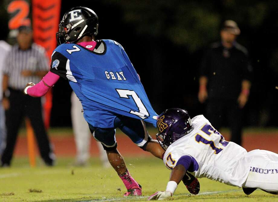 Episcopal's Tyreik Gray #7 tackled by William Clement #17 during a SPC football game between Kinkaid and Episcopal Friday, October 19, 2012. Photo: Bob Levey, Houston Chronicle / ©2012 Bob Levey