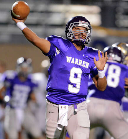 Warren's Ryan Larson (9) throws a pass during a district Football game between the Warren Warriors and the o'Connor Panthers at Farris Stadium in San Antonio, Saturday, October 19, 2012.