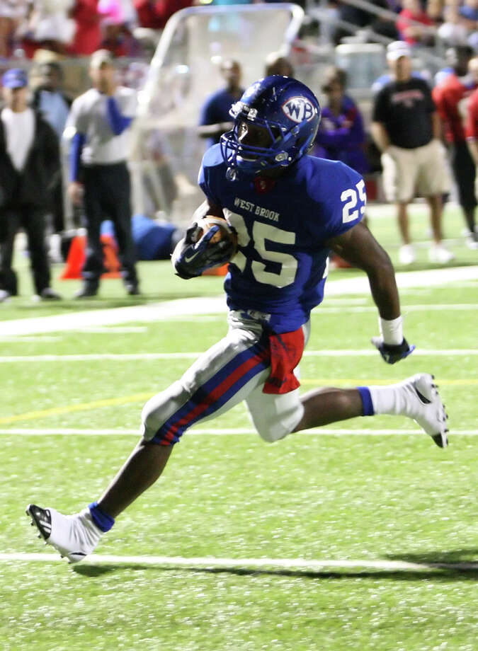 West Brook running back Justin Hervey rushes for a touchdown during the first quarter of the game against Channelview Friday at the Beaumont ISD Thomas Center. (Special to the Enterprise/Matt Billiot)