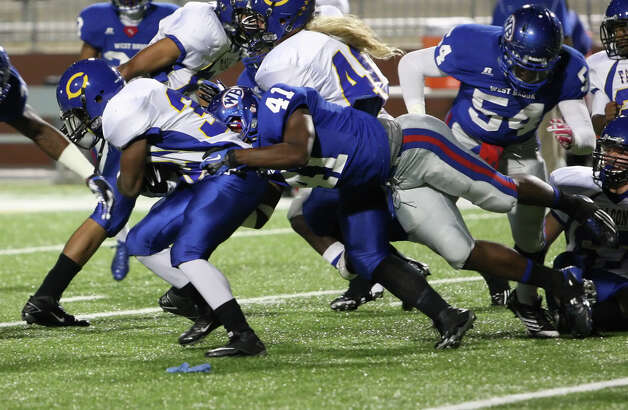 West Brook linebacker Taylor Guillory, No. 41, tackles a Channelview player during the game Friday at the Beaumont ISD Thomas Center. (Special to the Enterprise/Matt Billiot)
