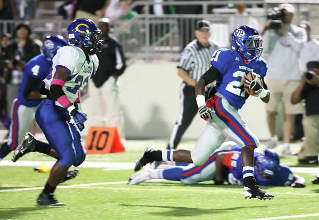 West Brook running back Cameron McBride scores a touchdown during the game against Channelview Friday at the Beaumont ISD Thomas Center. (Special to the Enterprise/Matt Billiot)