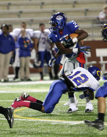 West Brook running back Justin Hervey, No. 25, sidesteps a Channelview player during the game Friday at the Beaumont ISD Thomas Center. (Special to the Enterprise/Matt Billiot)