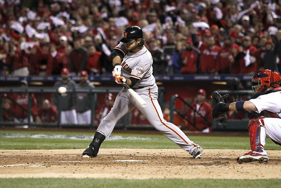 Brandon Crawford's two-run single was part of a four-run fourth that the Cardinals ultimately couldn't answer, so it's back to San Francisco for Game 6. Photo: Michael Macor, The Chronicle