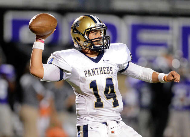 O'Connor quarterback Zach Galindo (14) throws a pass during a district football game between the Warren Warriors and the o'Connor Panthers at Farris Stadium in San Antonio, Saturday, October 19, 2012.