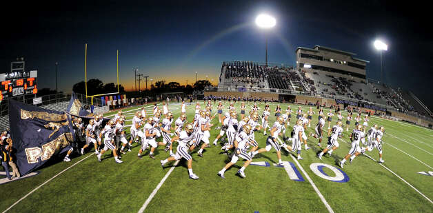 The O'Connor Panthers take the field before a district football game between the Warren Warriors and the o'Connor Panthers at Farris Stadium in San Antonio, Saturday, October 19, 2012.