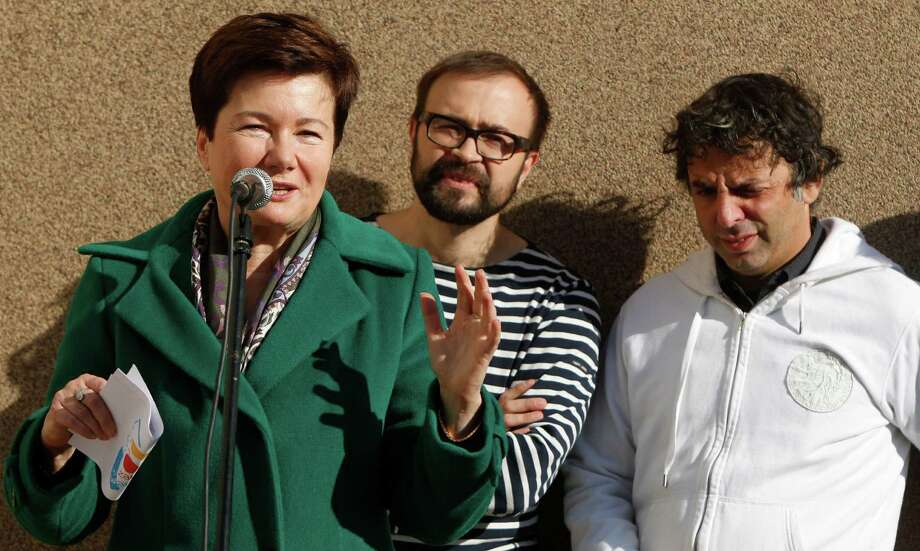 Warsaw mayor Hanna Gronkiewicz-Waltz joins apartment dweller Etgar Keret and designer Jakub Szczesny. Photo: Czarek Sokolowski, Associated Press / AP