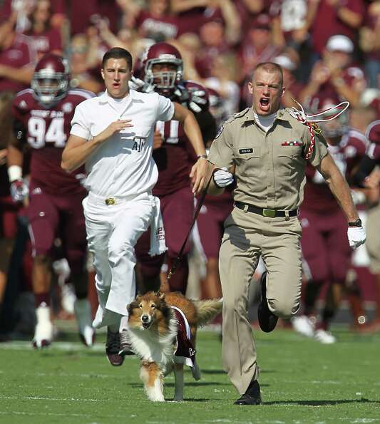 An Aggie cadet with Reveille during the first half of a college football game at Kyle Stadium, Satur