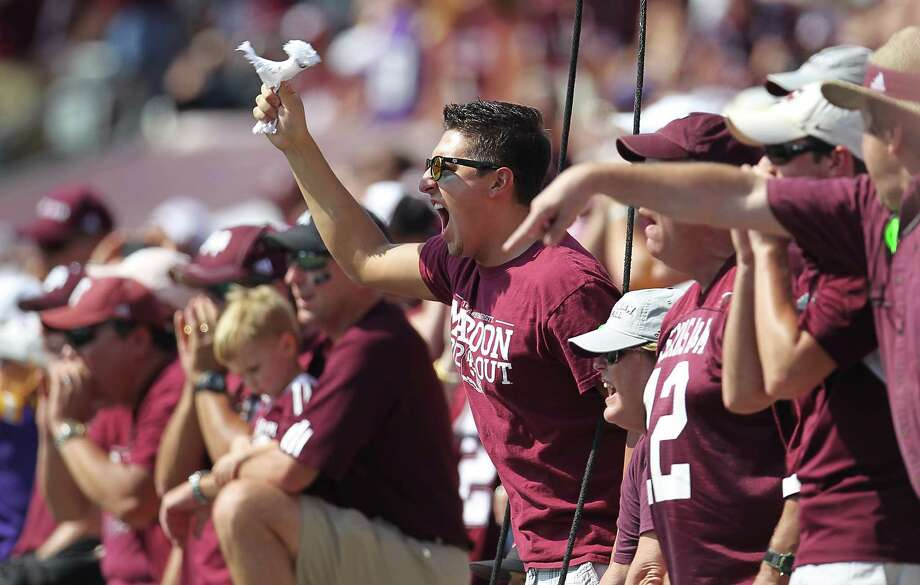 A&M fans yell in the end zone during the first half of a college football game at Kyle Stadium, Saturday, Oct. 20, 2012, in College Station. Photo: Karen Warren, Houston Chronicle / © 2012  Houston Chronicle