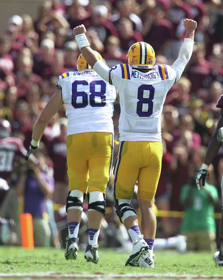 LSU's QB Zach Mettenberger (8) celebrates the Tiger's touchdown during the first half of a college football game at Kyle Stadium, Saturday, Oct. 20, 2012, in College Station. Photo: Karen Warren, Houston Chronicle / © 2012  Houston Chronicle