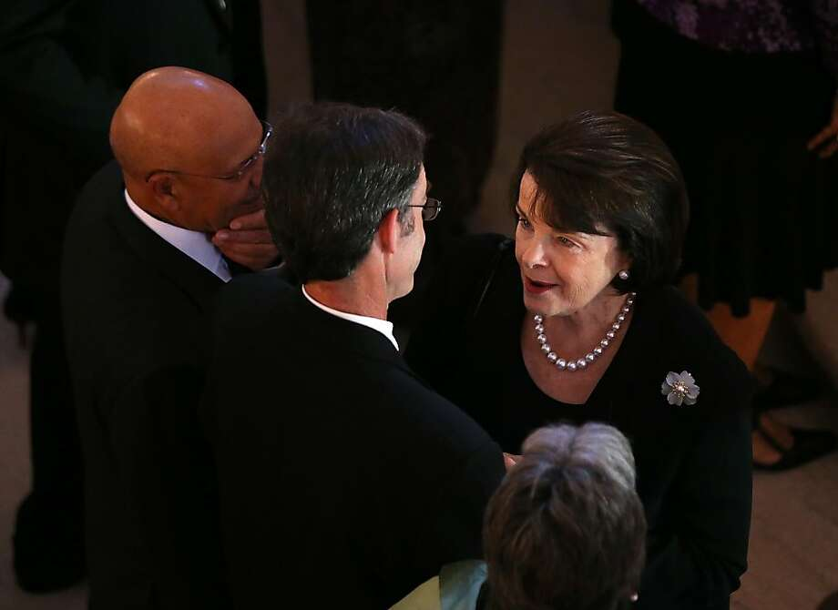 Sen. Dianne Feinstein, shown at Tuesday's memorial for U.S. Ambassador to Libya J. Christopher Stevens in San Francisco, also had a big fundraiser that night. Photo: Justin Sullivan, Getty Images