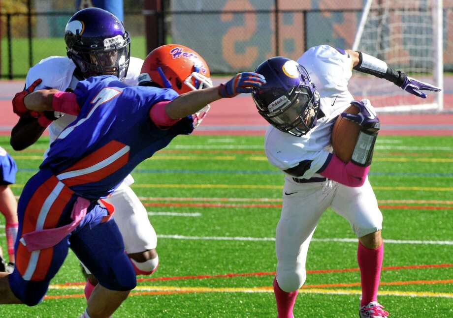 Danbury High School plays Westhill High School at Danbury Saturday, Oct. 20, 2012. Photo: Michael Duffy / The News-Times