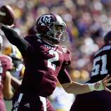 Johnny Manziel (2) of the Texas A&M Aggies throws against the LSU Tigers at Kyle Field on October 20, 2012 in College Station, Texas.