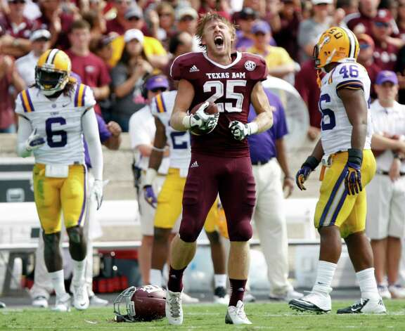 Texas A&M wide receiver Ryan Swope (25) screams after making a completion against LSU during the first half of their NCAA college football game, Saturday, Oct. 20, 2012, in College Station, Texas. (AP Photo/Eric Kayne) Photo: Eric Kayne, Associated Press / FR170049 AP