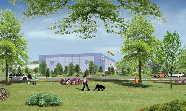 Artist rendering of Building Land and Technology's proposed boatyard plans on a 3.5-acre parcel at 205 Magee Ave. in Shippan that calls for a 25,000-square-foot building for reparis and maintenance and winter storage for up to 530 boats. Photo: Contributed Photo