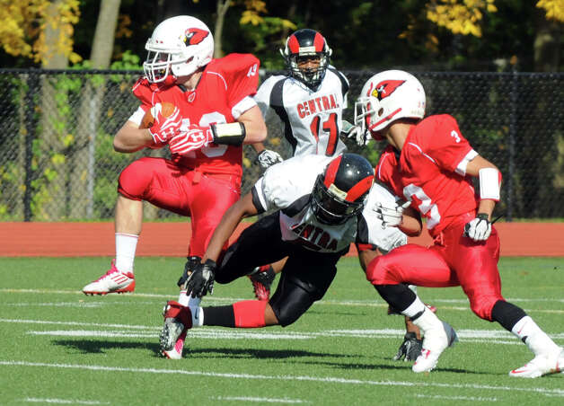 Greenwich's Mike Longo intercepts the ball as Greenwich High School hosts Bridgeport Central in a football game in Greeniwch, Conn., Oct. 20, 2012. Photo: Keelin Daly / Stamford Advocate Freelance
