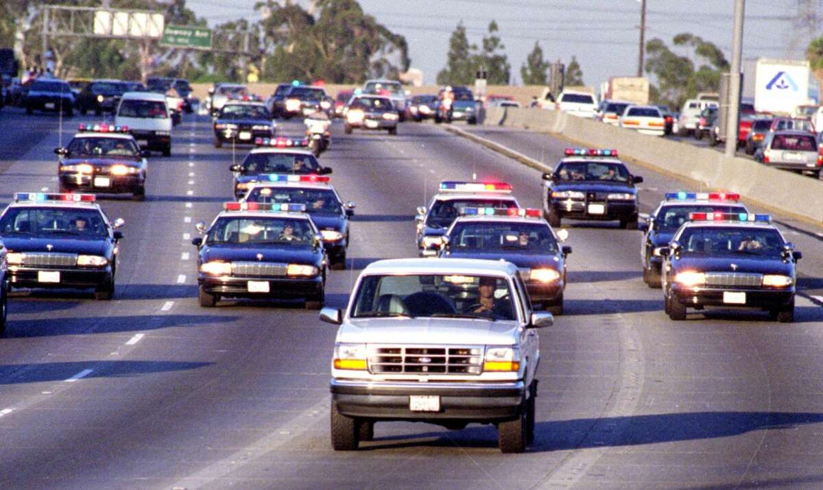 The White Bronco The most famous car chase ever took police down a California freeway as they pursued O.J. Simpson and a friend. The slow speed chase ended at Simpson's Los Angeles mansion, where was arrested for the murder of his wife Nicole Simpson and friend Ronald Goldman.