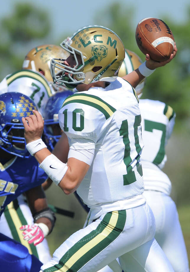 Little Cypress-Mauriceville's Caleb Harley throws the ball against Ozen at the Thomas Center on Saturday. Photo taken Saturday, October 20, 2012 Guiseppe Barranco/The Enterprise Photo: Guiseppe Barranco, STAFF PHOTOGRAPHER / The Beaumont Enterprise