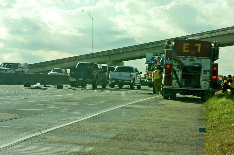 At least two traffic collisions on westbound Interstate 10 near the Pine Street off ramp tied up traffic for hours Saturday afternoon. Photo: Sarah Moore