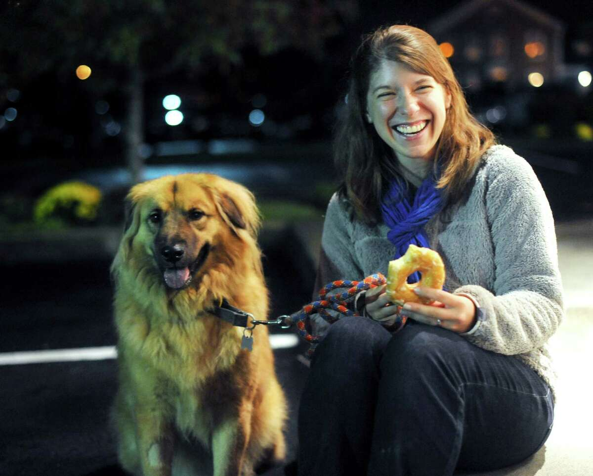 Virginia Davidson has made several trips to transport rescued dogs from San Antonio to Nashua, N.H. Her dog, Grizzy, was adopted in San Antonio when she and her husband were residents.