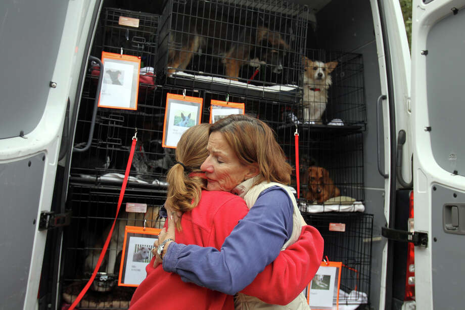 Before a previous trip, Lynn Tilton (right) hugs transport unit driver Virginia Davidson (left) after loading her foster dog, Mandy, as three dozen dogs were sent on their way in the Alamo Rescue Friends pet transport unit to a no-kill shelter in New Hampshire, Sunday, Dec. 5, 2010. Photo: Jennifer Whitney, For The Express-News / special to the Express-News