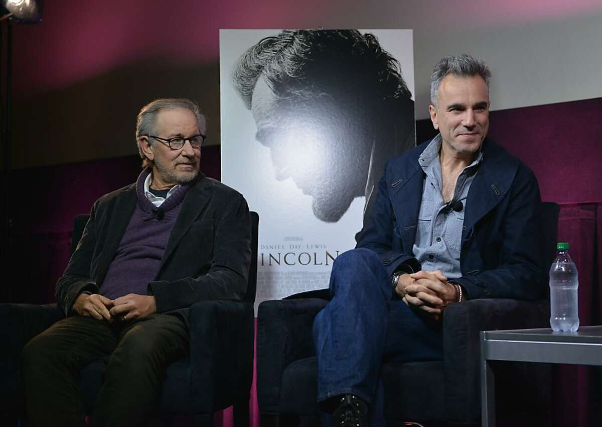 """NEW YORK, NY - OCTOBER 10: Steven Spielberg and Daniel Day-Lewis participate in a live conversation to packed houses following a special screening of Steven Spielberg's """"Lincolin"""" in cities across the country at AMC Loews Lincoln Square 13 on October 10, 2012 in New York City. (Photo by Bryan Bedder/Getty Images for Walt Disney Studios Motion Pictures)"""