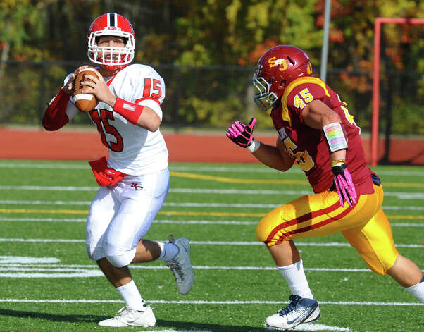 New Canaan QB Nick Cascione, during boys football action against St. Joseph in Trumbull, Conn. on Saturday October 20, 2012. Photo: Christian Abraham / Connecticut Post