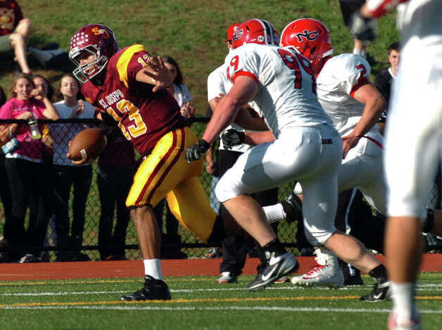 St. Joseph QB Jordan Vazzao, during boys football action against New Canaan in Trumbull, Conn. on Saturday October 20, 2012. Photo: Christian Abraham / Connecticut Post