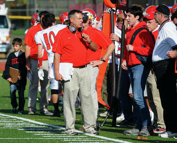 New Canaan Head Coach Lou Marinelli during boys football action in Trumbull, Conn. on Saturday October 20, 2012. Photo: Christian Abraham / Connecticut Post