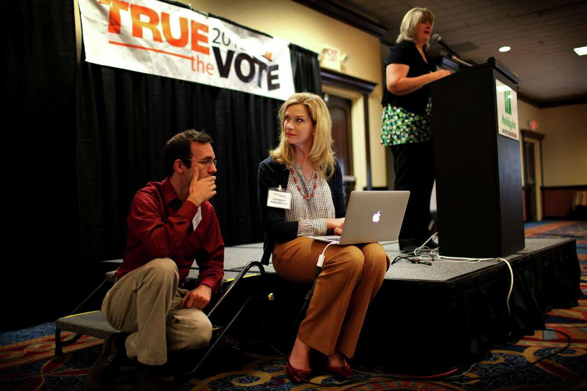 Catherine Engelbrecht, center, in Worthington, Ohio, leads True the Vote. Many of the group's voter fraud claims have been rejected for lack of evidence.