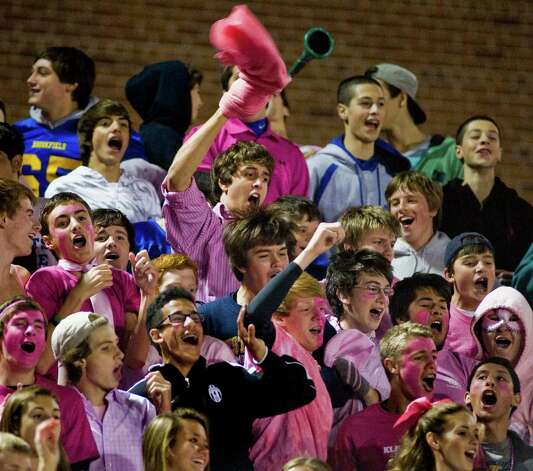 Brookfield High School students cheering their team in a game against Masuk High School, played at Brookfield. Saturday, Oct. 20, 2012 Photo: Scott Mullin / The News-Times Freelance