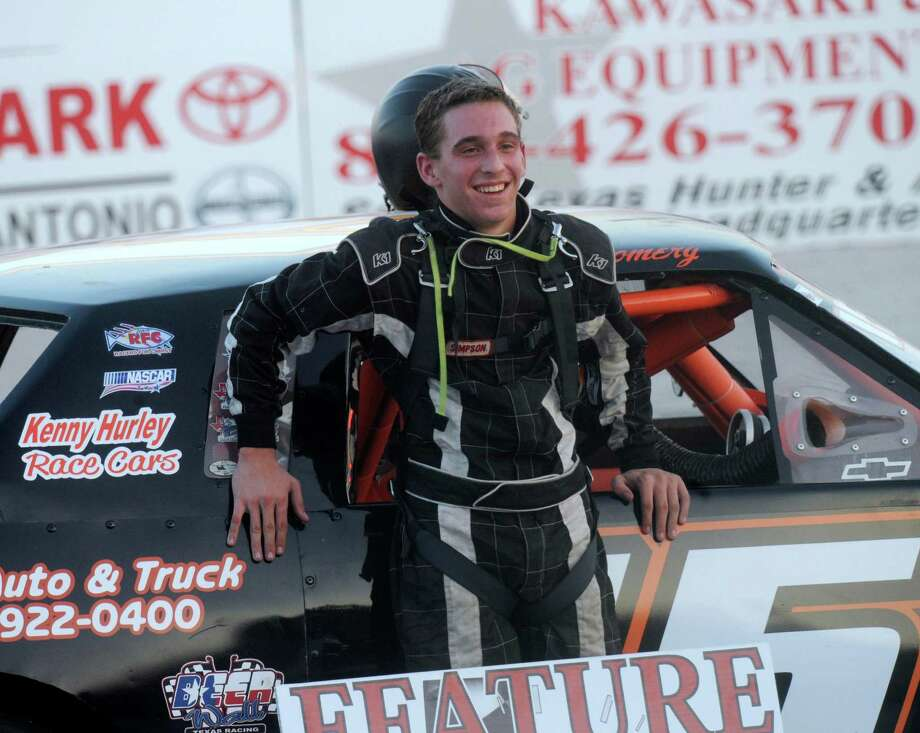 Hunter Montgomery smiles after exiting his car upon winning a race at the San Antonio Speedway on Texas Highway 16 South on Saturday, Oct. 20, 2012. The 35-year-old half-mile track has not hosted a race since 2007. Photo: Billy Calzada, Express-News / © 2012 San Antonio Express-News