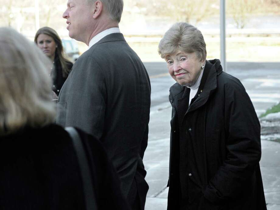 Dorthy Moxley, mother of Martha Moxley, right, looks back while her son John speaks to the media outside court after a sentence review hearing for Michael Skakel in Middletown, Conn., Tuesday, Jan. 24, 2012.  Skakel is seeking a reduction in his sentence of 20 years to life in prison for killing his neighbor Martha Moxley. Photo: Jessica Hill, AP Photo/Jessica Hill / AP2012 Associated Press