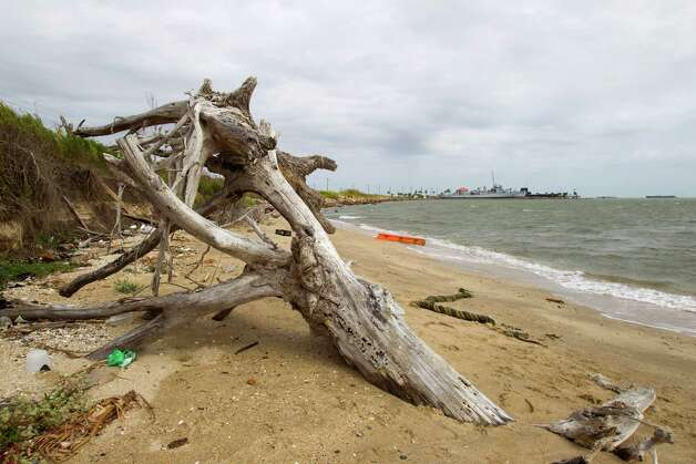 A large piece of wood sits on the beat on Pelican Island Thursday, Oct. 18, 2012, in Galveston. Photo: Brett Coomer, Houston Chronicle / © 2012 Houston Chronicle