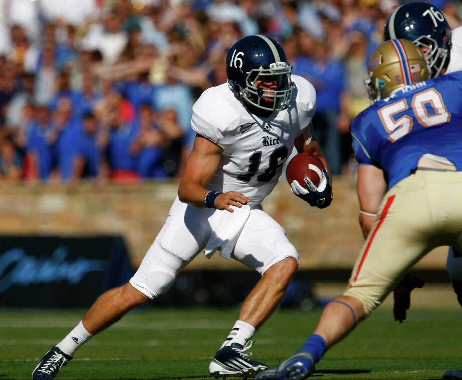 Rice's Taylor McHargue runs toward the end zone during the first half against Tulsa in an NCAA college football game Saturday, Oct. 20, 2012, in Tulsa, Okla. Photo: Tom Gilbert, Associated Press / Tulsa World