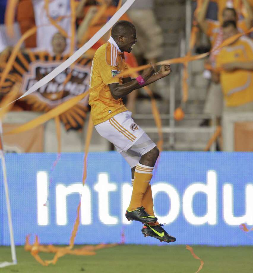 Amid a steady confetti rain, the Dynamo's Boniek Garcia celebrates his goal in the 71st minute against the Union that gave the Orange the lead. Photo: Bob Levey / 2012 Getty Images