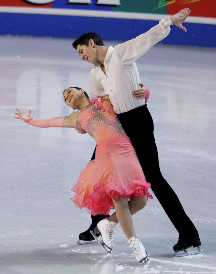 United States' Anastasia Cannuscio, left, and Colin McManus skate during the ice dance short dance in the Skate America figure skating competition Saturday, Oct. 20, 2012, in Kent, Wash. Saturday's program comprised short programs in ice dance and ladies' individual. Photo: AP
