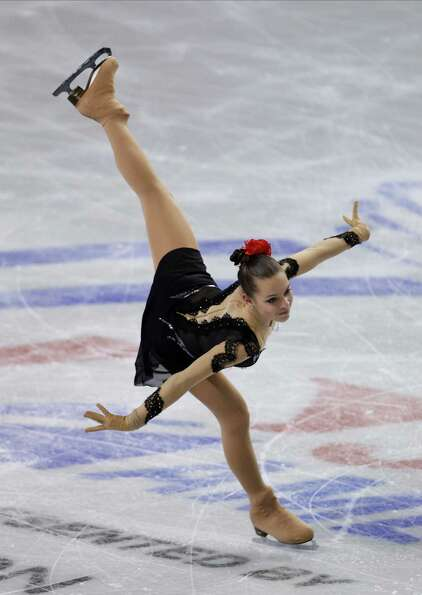 Russia's Adelina Sotnikova skates during the ice dance short program.