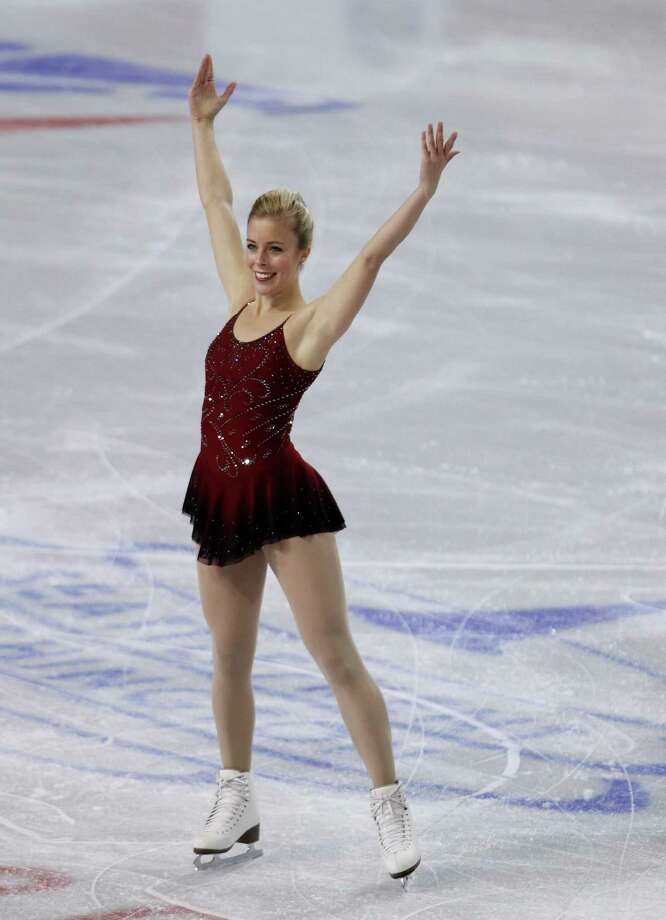 Ashley Wagner, of the United States, skates during the ice dance short program. Photo: AP