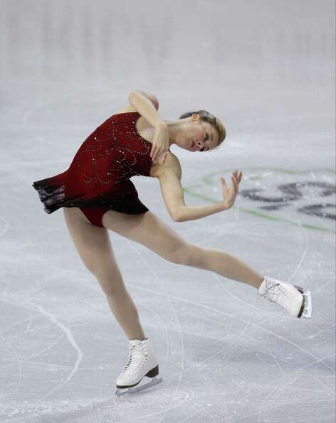 Ashley Wagner, of the United States, skates during the ice dance short program.