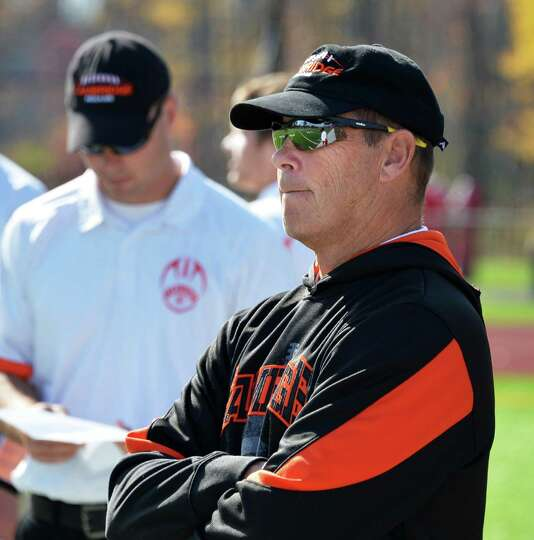 Cambridge head coach Doug Luke during Saturday's game against Rensselaer at Stillwater High School O