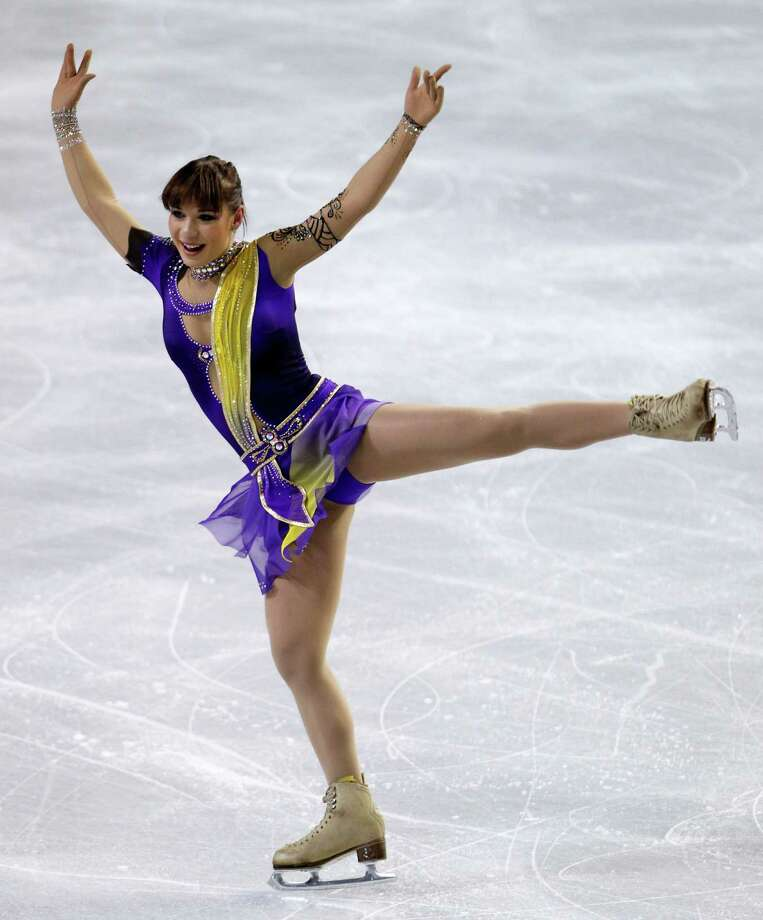 Russia's Alena Leonova performs during the ladies short program. Photo: AP