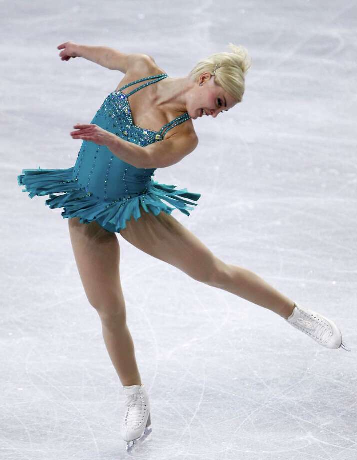 Sweden's Viktoria Helgesson performs during the ladies short program. Photo: AP