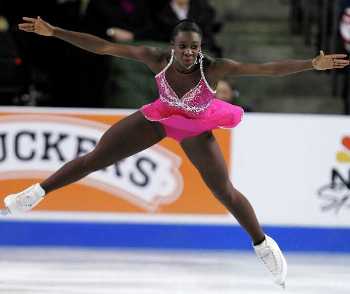 France's Mae Berenice Meite performs during the ice dance short dance.
